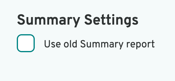 tick box for old summary
