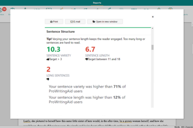 screenshot of prowritingaid's summary report showing sentence length