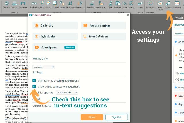 using the settings panel in PWA word add-in