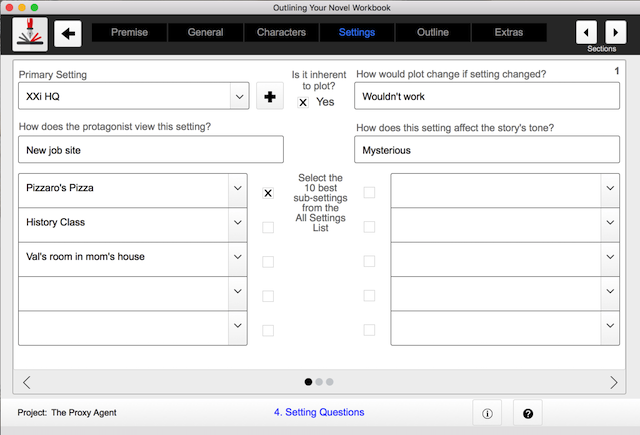 setting outlining screen in outlining your novel workbook