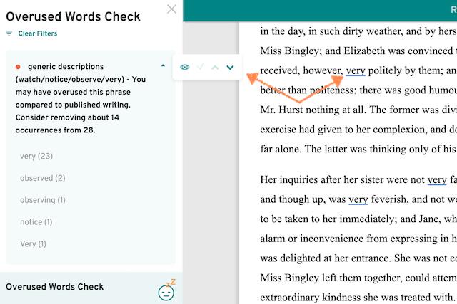 screenshot of overused words navigation menu