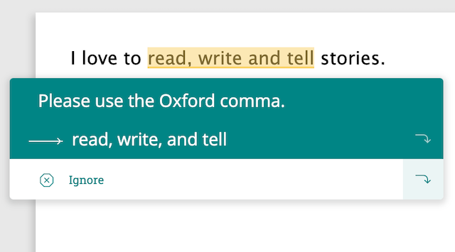 rule for oxford comma in ProWritingAid
