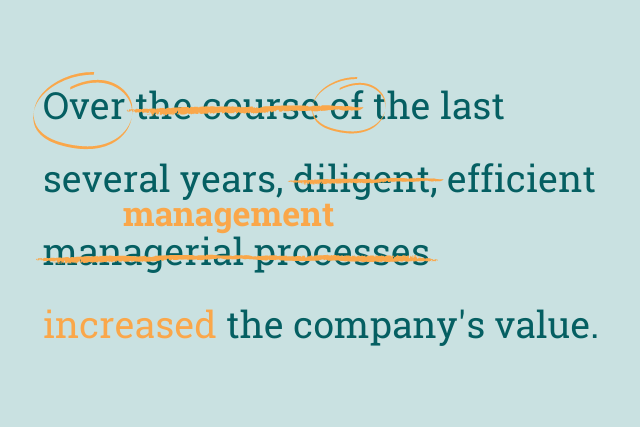 """Text reads: """"Over the course of last several years, diligent, efficient managerial processes increased the company's value"""". 'Over' and 'of' are circled. 'Diligent' is crossed out, 'managerial processes' is corssed out and replaced with 'management'."""