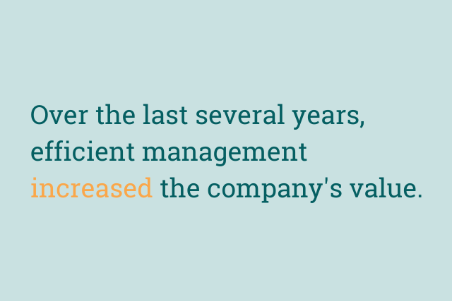 Text reads: Over the last several years, efficient management increased the company's value.