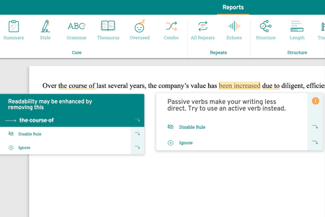screenshot of the original sentence in ProWritingAid