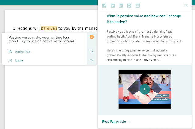Passive voice suggestion in ProWritingAid