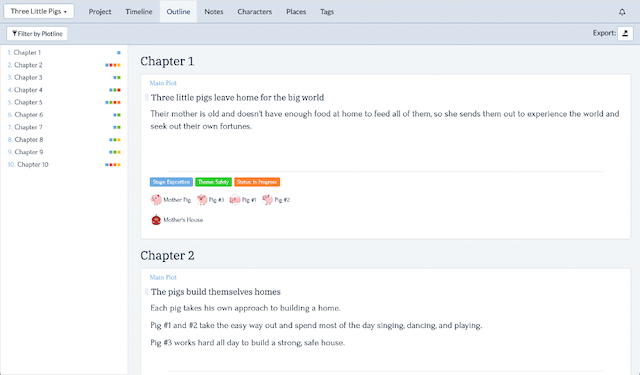 view your outline in detail chapter by chapter