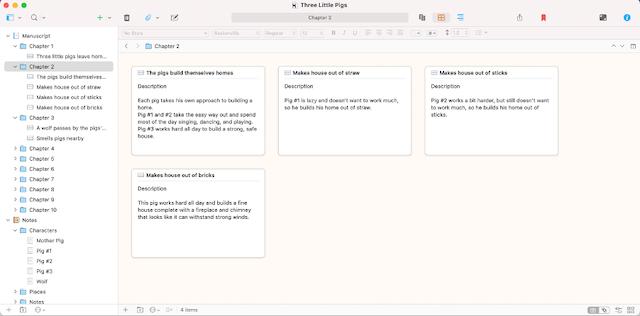 view your outline in scrivener