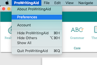 preferences menu in the mac desktop app