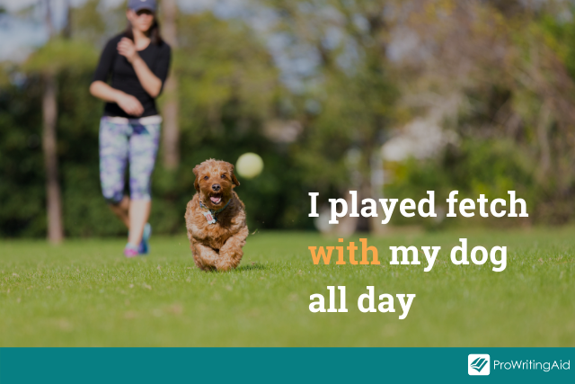 preposition dog example, image of dog playing fetch