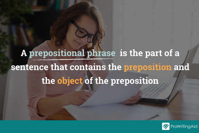prepositional phrase definition overlaid on image of writer