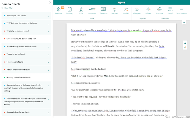 Combo report screen in prowritingaid