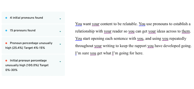pronoun report in prowritingaid for the above paragraph