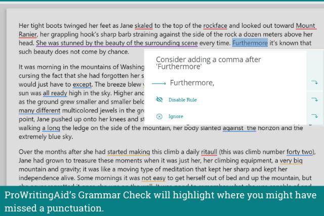 Screenshot  of ProWritingAid's grammar checker