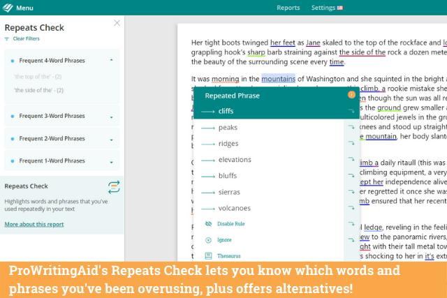 Screenshot of ProWritingAid's repeat check