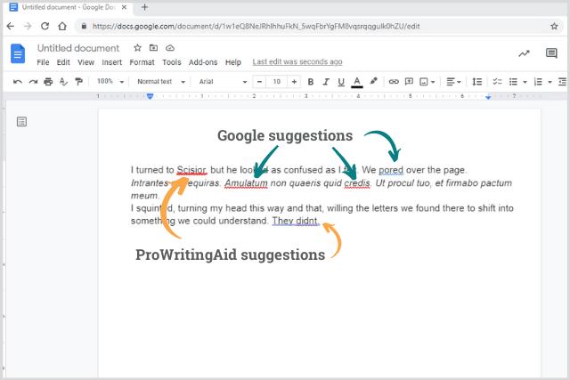 prowritingaid suggestions in google docs