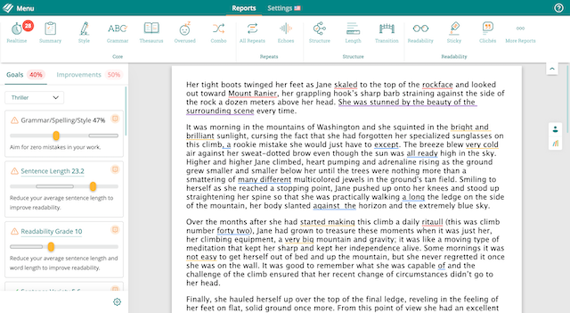 realtime highlights in ProWritingAid: grammar, spelling, style and passive voice