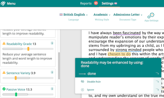 readability enhancement for an admissions letter