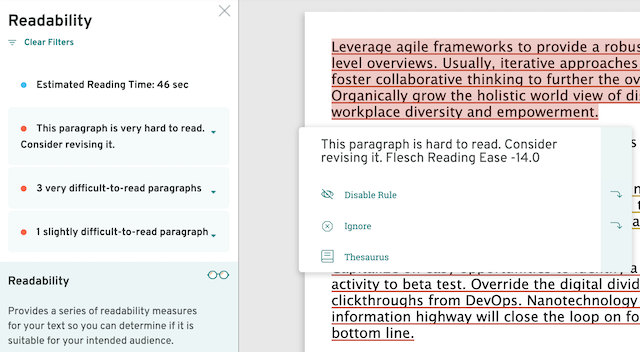 readability suggestions; 'start', 'begin', for 'commence' in ProWritingAid