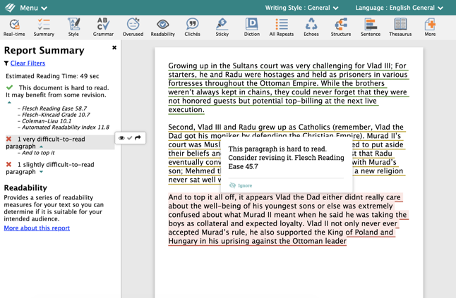 ProWritingAid Readability Report