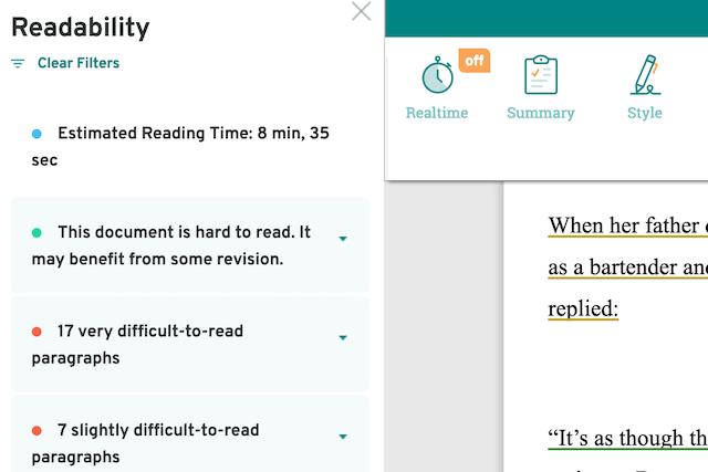 screenshot of prowritingaid's readability sidebar
