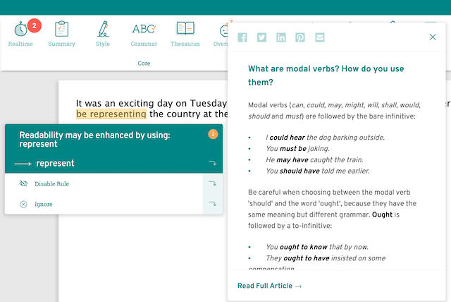 modal verb pop-out screenshot in ProWritingAid