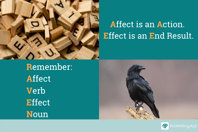 images of scrabble tiles and a raven next to affect/effect mnemonics