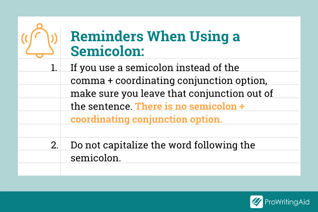 Image showing things to remember when using a semicolon