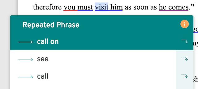 a prowritingaid synonym suggestion box