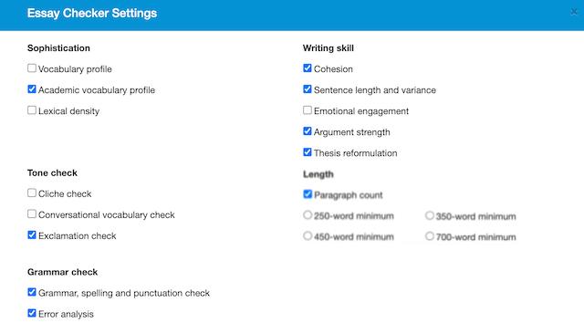 report set up in Virtual Writing Tutor