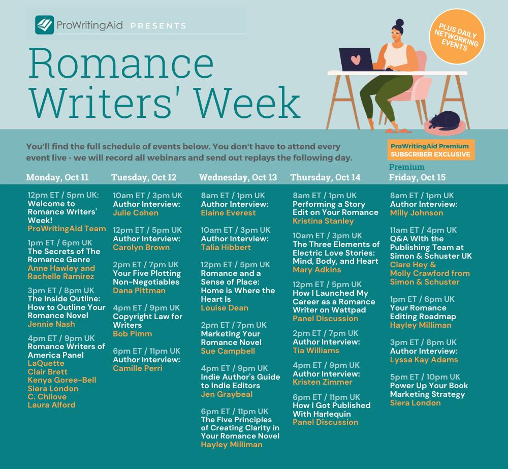 IFull Schedule, Romance Writer's Week