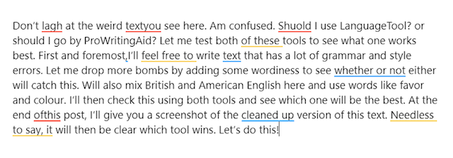 sample text in prowritingaid, with 11 highlights