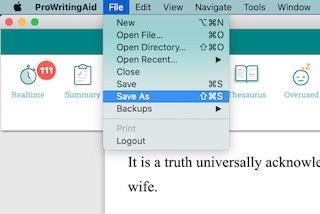 save as in prowritingaid desktop app for mac