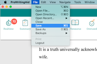 save in prowritingaid desktop app