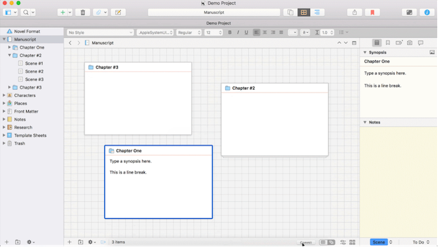 screenshot of outliner software