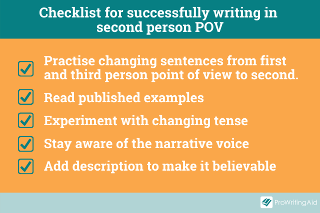writing in second person checklist