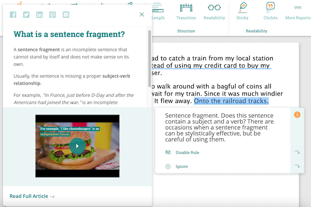 A screenshot of a sentence fragment suggestion ProWritingAid's realtime report