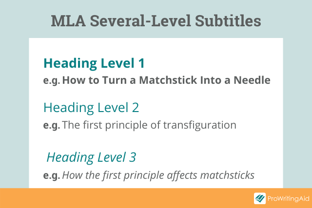 three different formats to denote different subtitle levels