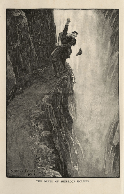Sherlock Holmes and Moriarty fight at Reichenbach Falls, the first example of retconning.