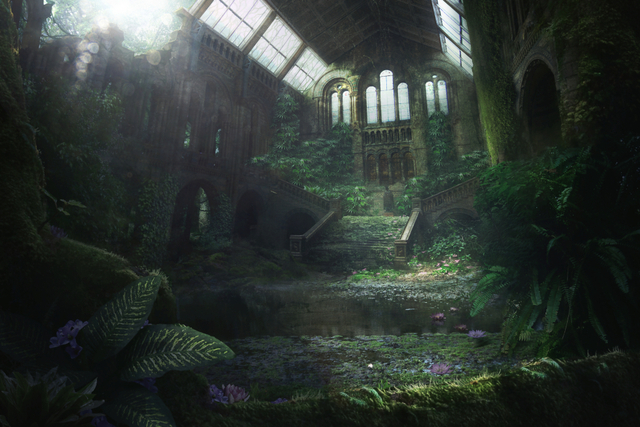 post apocalyptic world, vast room overgrown with green plants