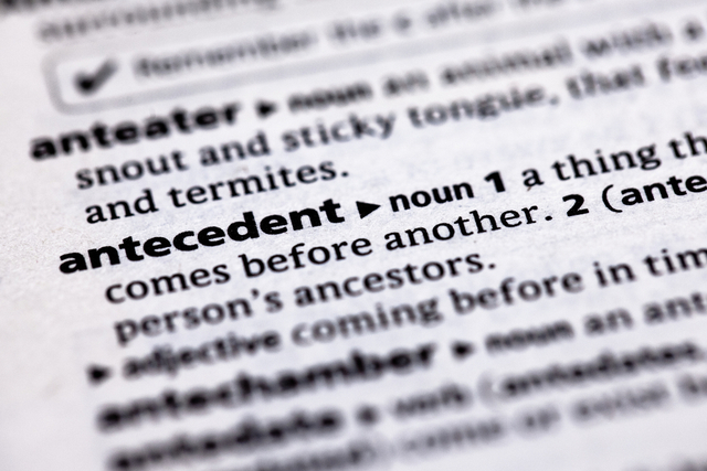 antecedent entry in a dictionary