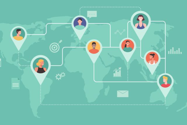 graphic of connected professionals across a world map