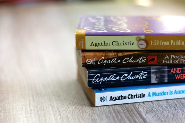 pile of agatha christie books