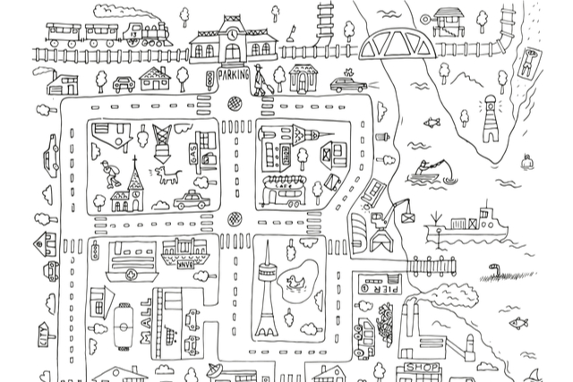 doodle map of a town