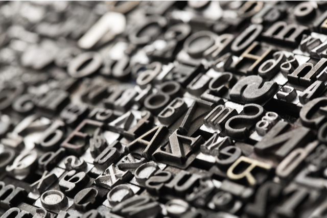 closeup of typesetting blocks