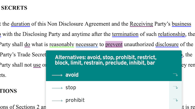 ProWritingAid thesaurus suggestions for 'prevent' with 'avoid' selected