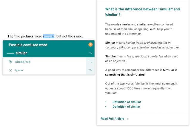 screenshot of prowritingaid suggestion, simular for similar, with extra info