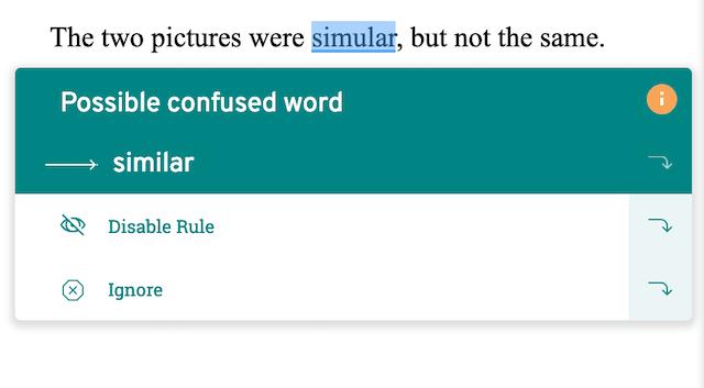screenshot of prowritingaid suggestion, simular for similar