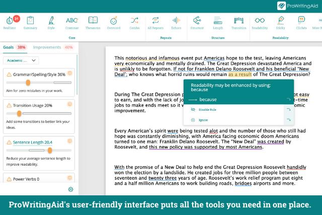Screenshot of ProWritingAid's interface