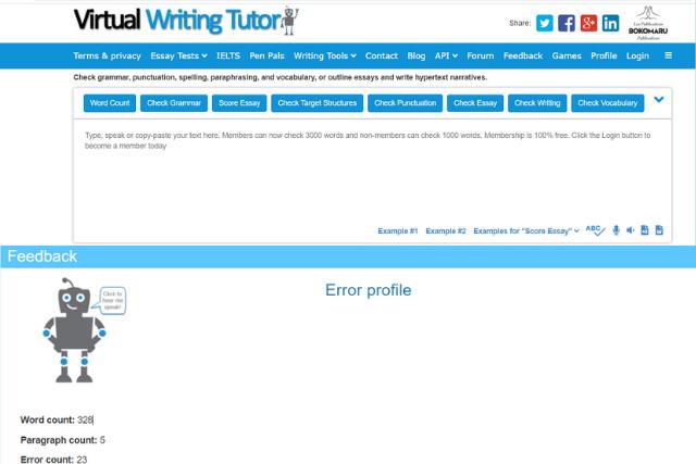 Screenshot of Virtual Writing Tutor